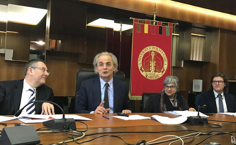 il Rettore Sauro Longhi, il Pro Rettore Gian Luca Gregori, la direttrice generale Rosalba Valenti, il direttore Vicario Alessandro Iacopini