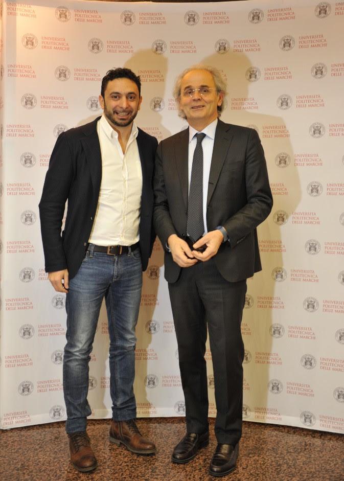Il ct Davide Mazzanti con il rettore Sauro Longhi