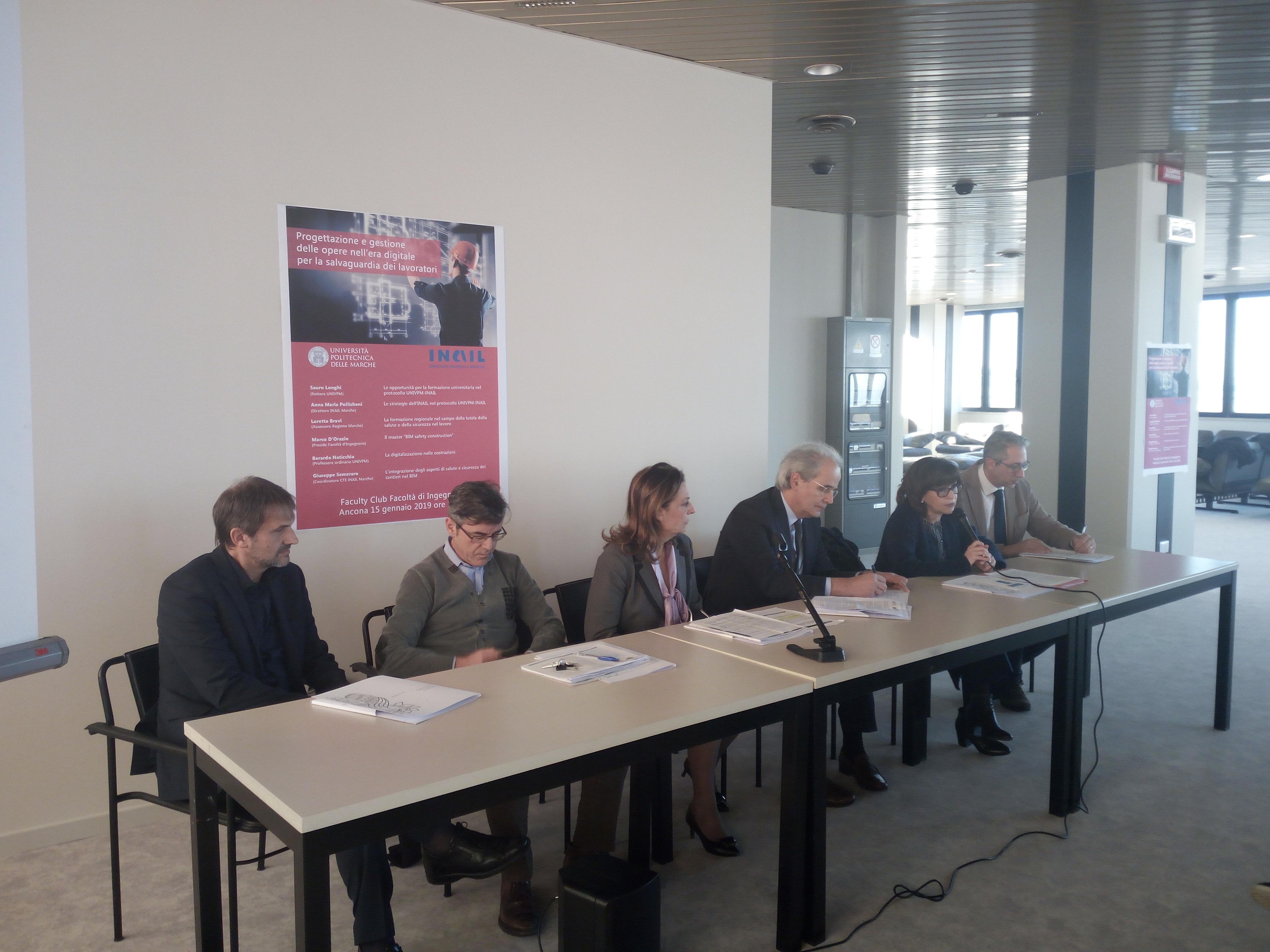 Presentazione del Protocollo Inail-Univpm presso il Faculty Club della Politecnica.