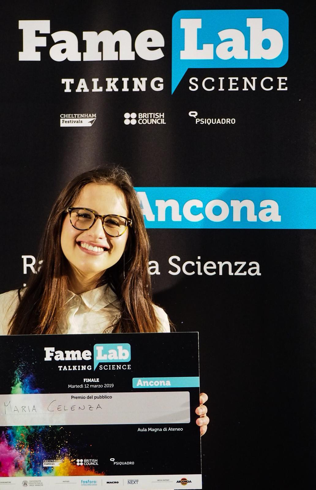Famelab Ancona 2019 Maria Celenza premio del pubblico