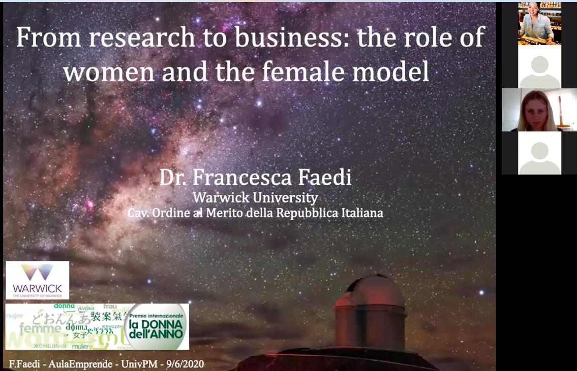 aula emprende Francesca Faedi, ricercatrice all'Università di Warwirck